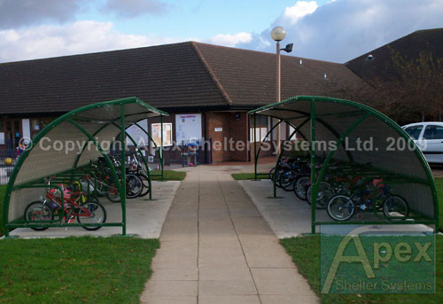 Alpha Pep iR Cycle Rack and Shelter with Plastisol Roof and Clear End PanelsAlpha Tep iR Cycle Shelter