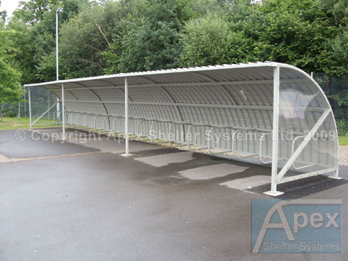 Alpha Pep iR Cycle Rack and Shelter with Plastisol Roof and Clear End Panels