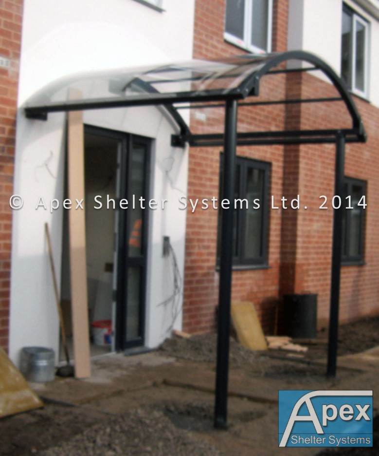 Curved Roof Door Canopy - Entrance Canopy - Apex Shelters & Montrose Door Awning - Apex SheltersApex Shelters