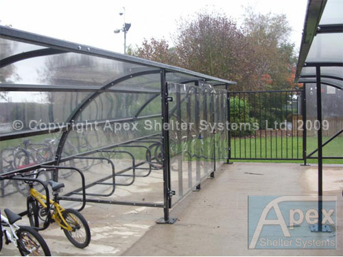 Enclosed Motorcycle Shelter : Secure shelter within an enclosed compound apex